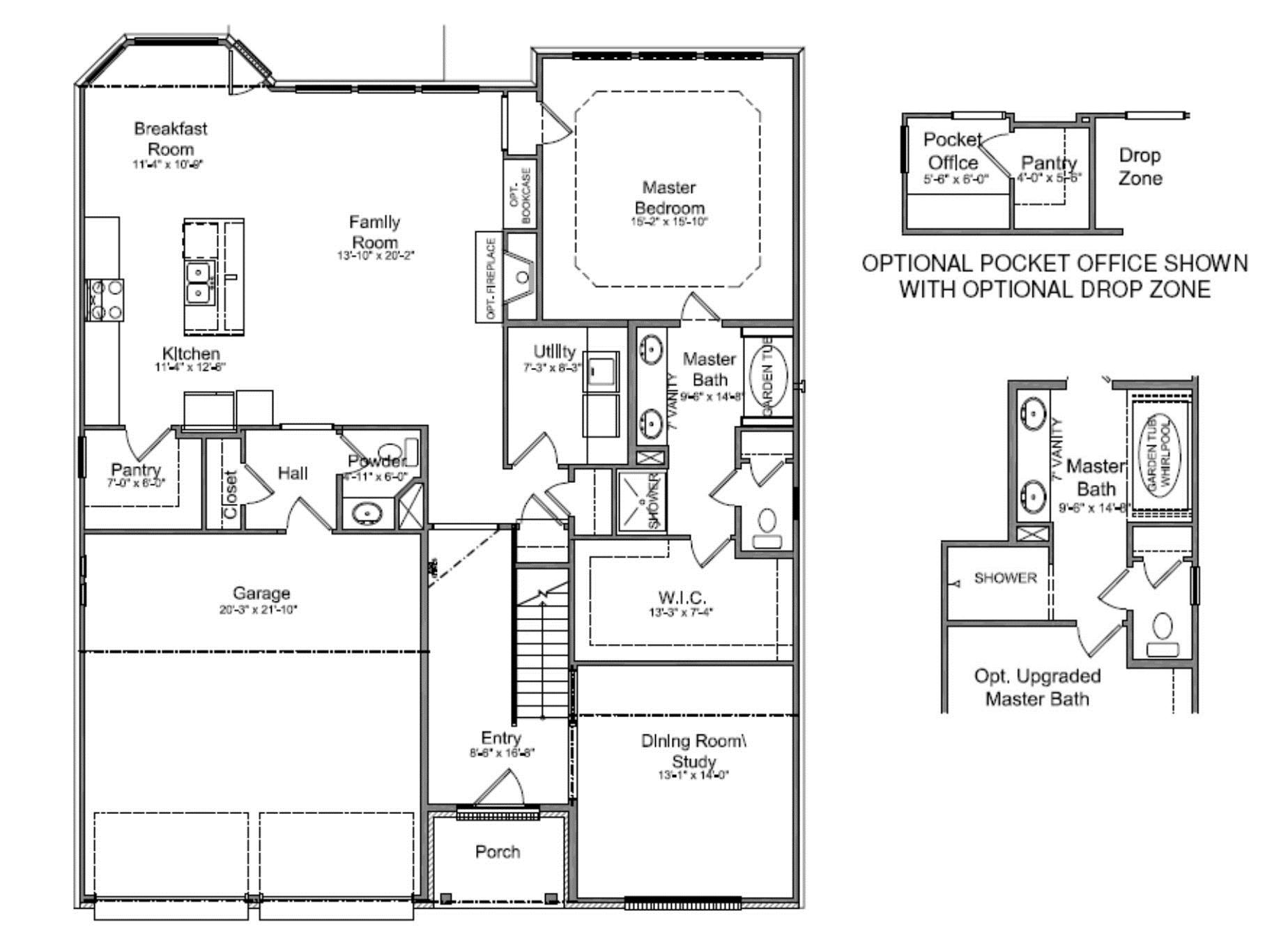 New floor plan for Small house plans with master bedroom on first floor